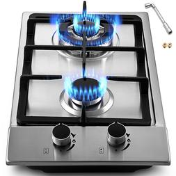 "12"" 2 Burners Gas Cooktop Stainless Steel Kitchen Sealed Bur"