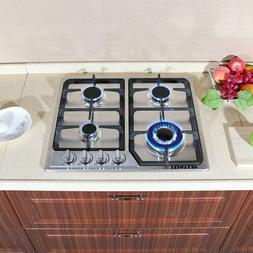 METAWELL 23in. GAS Stainless Steel Cooktop Stove Cook Top 4