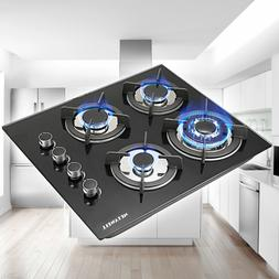 """24"""" Tempered Glass Hob Built-In 4 Burners Stove Tops LPG/NG"""