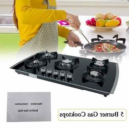 """30"""" 5 Burners Built-In Gas Cooktop NG/LPG Tempered Glass Cou"""