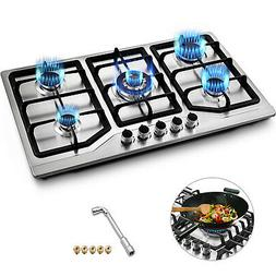 "33.8"" 5 Burners LNG/LPG Gas Cooktops Cooker Built-In Stove D"