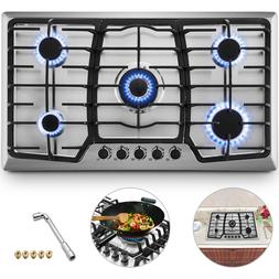 "36"" Gas Hob Gas Cooktop 5 Burners Built-In Stove Kitchen Eas"