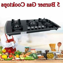 5 Burners Built-In Gas Cooktop NG/LPG Tempered Glass Counter