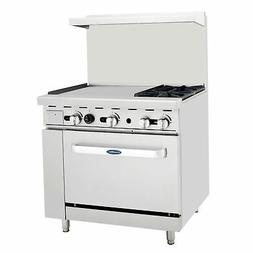 "Atosa ATO-2B24G NG 36"" Gas Range 2 Burners 24'' Griddle with"