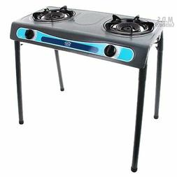 Double Head Propane Gas Burner Portable Stand Camping Outdoo