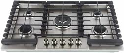 LYCAN Gas Cooktop Stainless Steel Stove Top 5 Italy Sabaf Bu