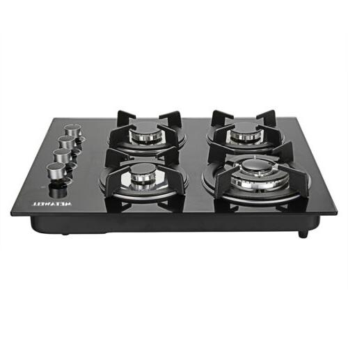 """24"""" Tempered Glass Hob Built-In Tops Cooktop"""