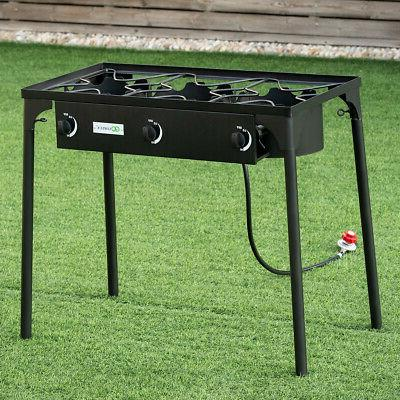 3-Burner Portable Propane Gas Cooker Outdoor Camp BBQ Stove 225,000 Grill