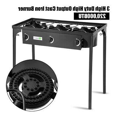 3-Burner Portable Gas Cooker Outdoor BBQ Stove 225,000