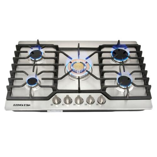 "GAS cook Stoves Top 30"" Stainless Steel Gold Built-in 5 Burn"