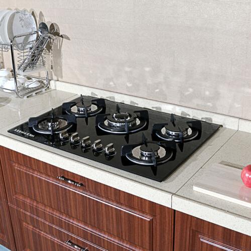 "Blk Cook Top 30"" Tempered Glass Built-in 5 Burner Stove LPG/"