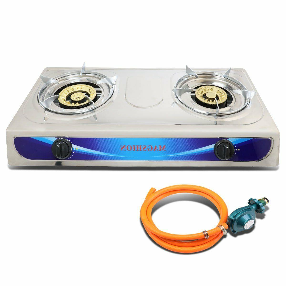 Double Stove BBQ With Hose Regulator