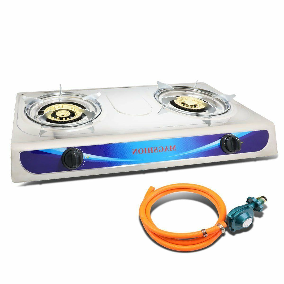 double portable propane gas stove large brass