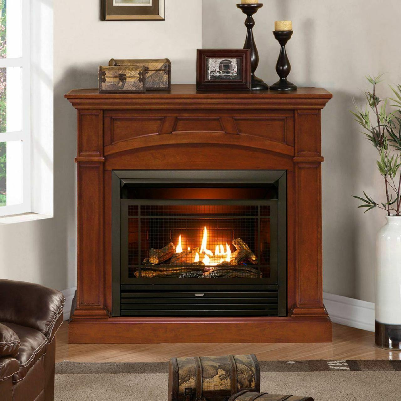 Duluth Dual Ventless BTU, Remote Control, Gas Fireplace, Heritage Cherry