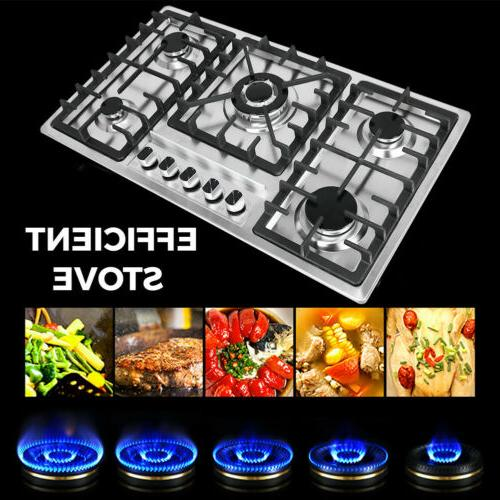 """New 33.8"""" Cooktop Stove Natural Gas Cooker 5"""