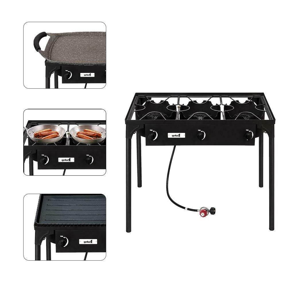 Camping Gas Propane Burner Stove Outdoor Three Cooking Burne