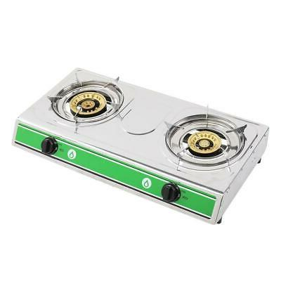 Portable Propane Gas 2-Burner Stove BBQ Cooking Camping