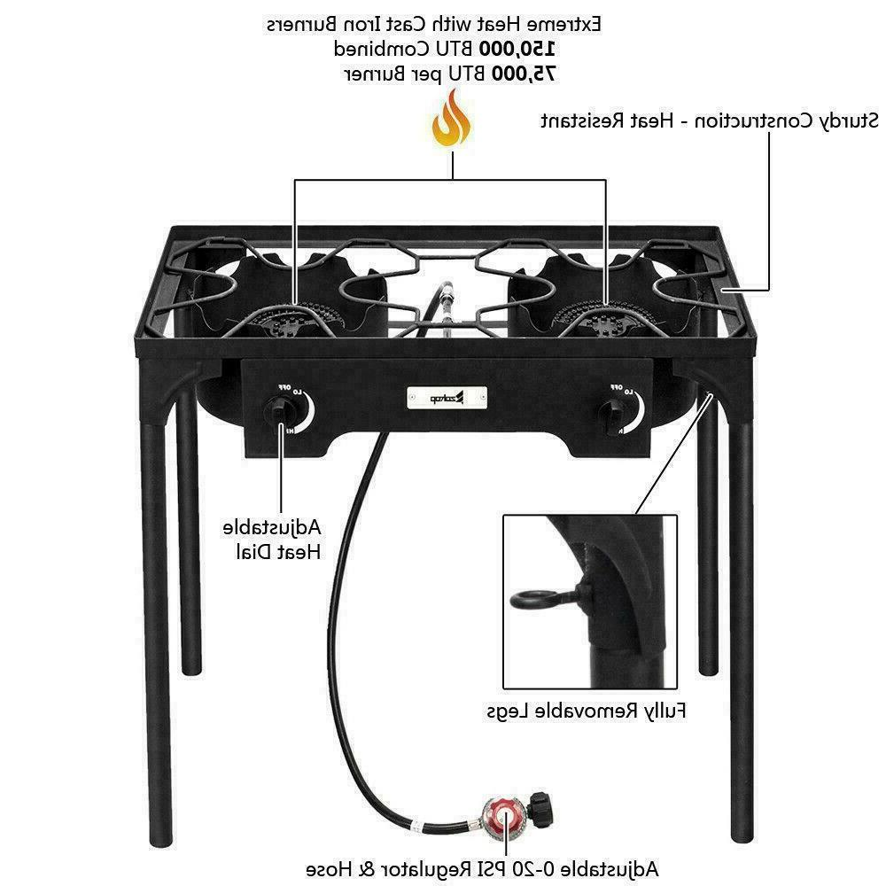 Propane BTU 2 Gas Stand Stove Outdoor Grill