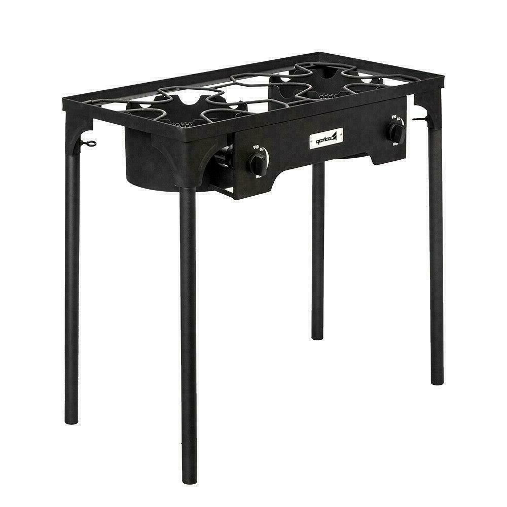 Propane BTU 2 Gas Cooker Stand Stove Outdoor BBQ Grill