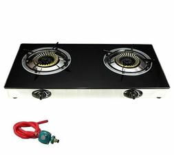 Propane Gas Range Stove Deluxe 2 Burner Tempered Glass Cookt