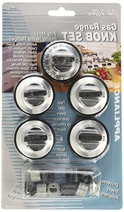 RKG Gas Range Knob Set Replacement Black with Silver Overlay
