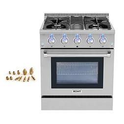 "30"" Thor Kitchen Free Standing 4 burner gas range + LP Conve"
