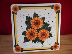 White Yellow SUNFLOWER GAS Stove Top SQUARE BURNER COVERS 4